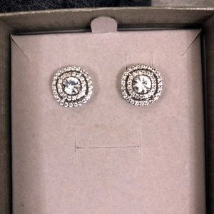 Zales White Sapphire double frame earrings